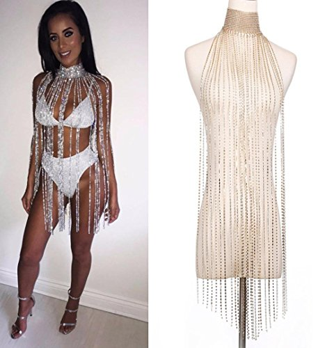 n Körperkette Frauen Nachtclub Party Körper Kette Schmuck Bikini Taille Gold Bauch Strand Harness (Silver) ()
