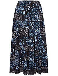 e82a633cd32 Yours Women s Plus Size Floral Print Tiered Maxi Skirt with Lace Trim Hem