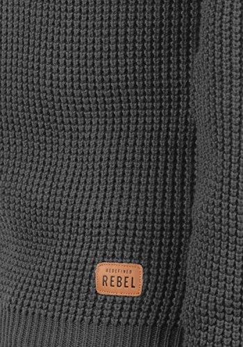 REDEFINED REBEL Maxwell Herren Strickpullover Grobstrick Pulli Waffelstrick mit Rundhals-Ausschnitt aus 100% Baumwolle Meliert Forged Iron