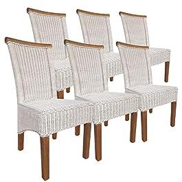 Casamia Perth Lot de 6 chaises en rotin sans Coussin Blanc Taille Unique