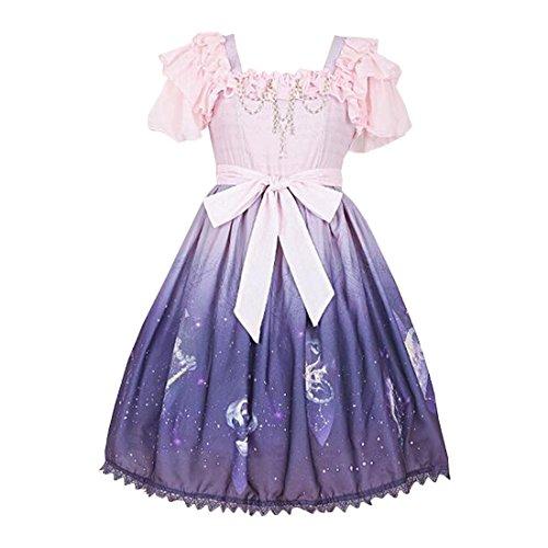s Lolita Kleid Prinzessin Roecke Cosplay Kostueme,L,Kurz Huelse Rosa (Billige Maskerade Kleider)