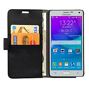 Translucent Galaxy Note 4 Case, Wallet Case Premium [Slim Fit] Protective Stand Flip Cover Case for Samsung Galaxy Note 4 (Black)