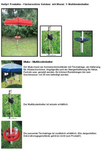 Parapluie-vacances-holly ® produits sTABIELO ®-fabriqué en allemagne-wURMI-mULTIBODENHALTER en aluminium et dure en fibre de verre-acier inoxydable-argile pour gazon-plage de sols sable/gravier pour parasols d'un système de fixation universelle pour jusqu'à env. 33 mm-holly-sunshade ®
