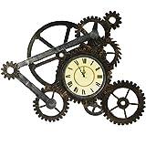 QRFDIAN Decoraciones para el hogar Relojes de Pared Americanos Sala de Estar Tranquila Bar Retro Reloj con Cuerda Industrial Sin batería