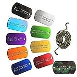 Personalizzato Identità Targhette Stile Esercito ID Collana Pendente Incisione Gratuita 10 Colours Disponibile - Dorato