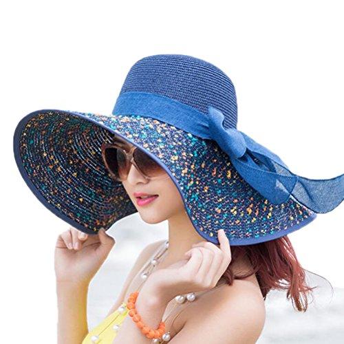 Nanxson(TM) Chapeau De Soleil Capeline En Paille À Pois Avec Nœud Bord Large Pour Femme MZW0104 Bleu Marine