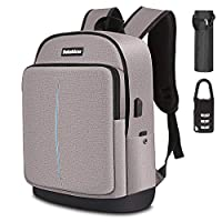 Bekahizar Travel Laptop Backpack 15.6 inch Lightweight Computer Rucksack with USB Charging Headphone Port, Large College Student School Bag Casual Backpack Work Daypack for Unisex Men Women (Gray)