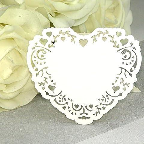 10x Tischkarten Hochzeit Herz Vintage EinsSein® weiß - Tischkarten, Platzkarten, Namenskarten, Platzkartenhalter