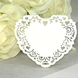 10x Marque Place mariage EinsSein® Cour Vintage blanc - cartes de table - Endroit de mariage décoration