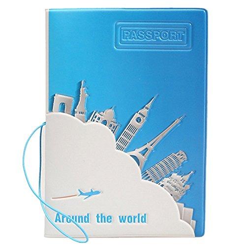 WODEJIAYUAN Auf der ganzen Welt Pass Halter Hülle Schutz PU Leder Hülle Tasche Reise Portemonnaie (Leder Echt-passport-halter)