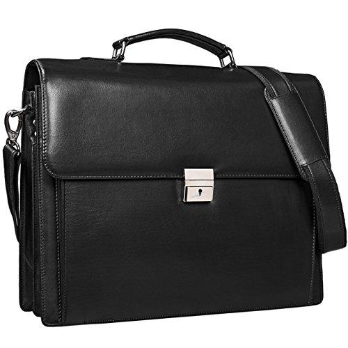 STILORD 'Johann' Klassische Schwarze Aktentasche Herren Damen Businesstasche für 15,6 Zoll Laptop passend für große DIN A4 Ordner mit Schloss Rinds Leder schwarz