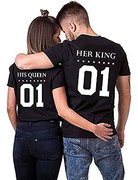 Camiseta Parejas King Queen 100% Algodón Rey Reina 2 Piezas T-Shirt Regalo del Día de San Jorge Impresión 01 Manga...