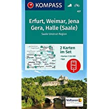 Erfurt, Weimar, Jena, Gera, Halle (Saale): 2 Wanderkarten 1:50000 im Set inklusive Karte zur offline Verwendung in der KOMPASS-App. Fahrradfahren.: ... 1:50 000 (KOMPASS-Wanderkarten, Band 457)