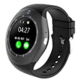 Kivors Bluetooth Smart Watch, Smart Watch Waterproof IP68 Watch Bracelet with Pedometer/Heart Rate Monitor/Camera/GPS/SIM Card for iPhone IOS and Android (Y1S-Black)