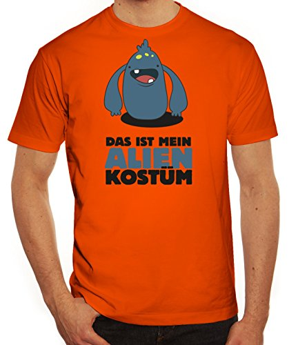 Fasching Karneval Herren T-Shirt mit Das ist mein Alien Kostüm 7 Motiv von ShirtStreet Orange