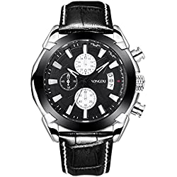 SONGDU Men's Chronograph Quartz Watch with Date Calender Analogue Display and Black Leather Strap