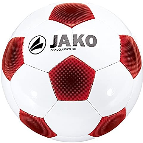 Jako Goal Ball Classico 0-32 3 Panel Hand-Stitched, White / Red / Black, 5-2306 by Jako