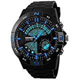 Panegy Herren Armbanduhr Outdoor Sportuhr Fashion Stil Digitaluhr Analog Multifunktionelle Dual-time Wasserdichte Uhren-Blau