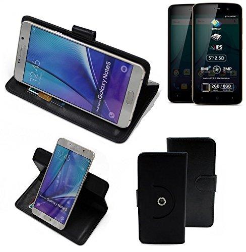 K-S-Trade® Hülle Schutzhülle Case Für -Allview P6 Plus- Handyhülle Flipcase Smartphone Cover Handy Schutz Tasche Bookstyle Walletcase Schwarz (1x)
