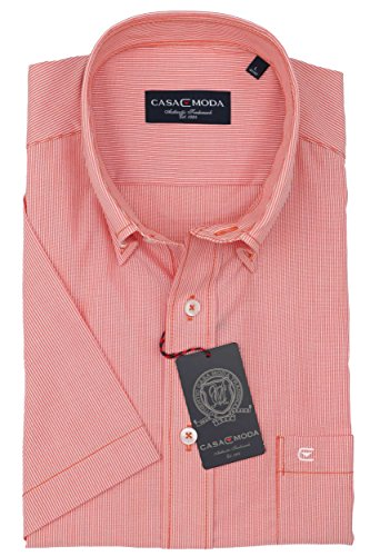 Casa Moda - Herren Kurzarm Freizeithemd mit Button-Down Kragen 962639500A Orange (450)