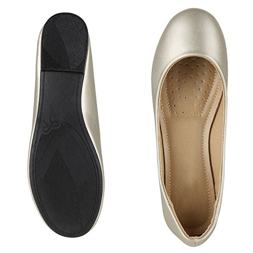 Japado Classic Women Ballerine Flats Lace Crochet Look Leather Optical Slippers Ballerina Shoes Metallic Grind Sequin Gold