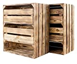 2X Vintage-Möbel24 hohes geflammtes/braunes Regal 2 Schubladen 61cm x 50cm x 31cmObstkiste Holzkiste Holzschrank
