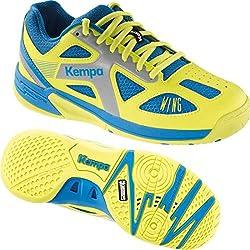 Kempa Zapatillas de balonmano Zapatillas Deportivas para niños azul/amarillo + Kempa Calcetines, color azul, tamaño 34