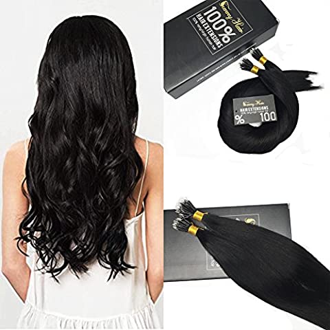 Sunny 100% Unprocessed Remy Hair Jet Black 1# Nano Rings Human Hair Extensions 18 Inches 50g 1g/strand