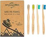 My Green Vibes - Brosses à dents en bambou pour enfants- Poils souples,sans...