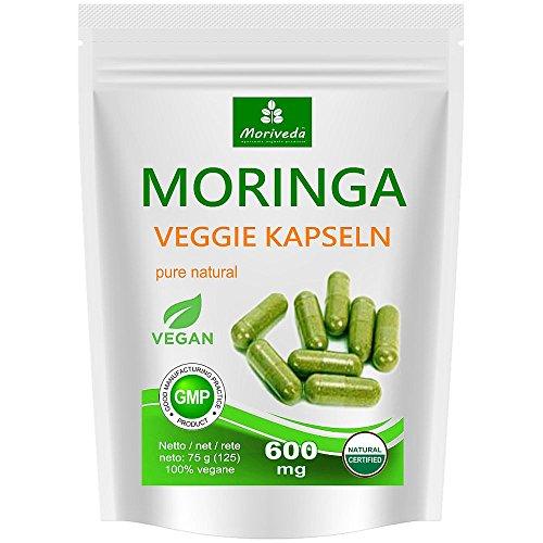 Moringa Kapseln 125 VEGGIE Oleifera hochdosiert 600mg - 100% vegane Rohkost (1x125 Kapseln) (Superfood, Antioxidative Nahrungsergänzung)