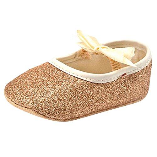Highdas Glitter Babyschuhe Flash Bow Weiche Unterseite Sneaker Anti Rutsch Weiche Sohle Kleinkind Champagner