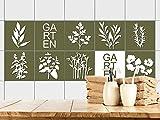 GRAZDesign Fliesensticker Gartenkräuter - Fliesentattoo Kräuter - Fliesenaufkleber Küche Grün / 10x10cm / 770371_10x10_FS10st