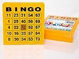 200 große Bingokarten für Senioren 24 aus 75 mit Joker in der Mitte (orange)