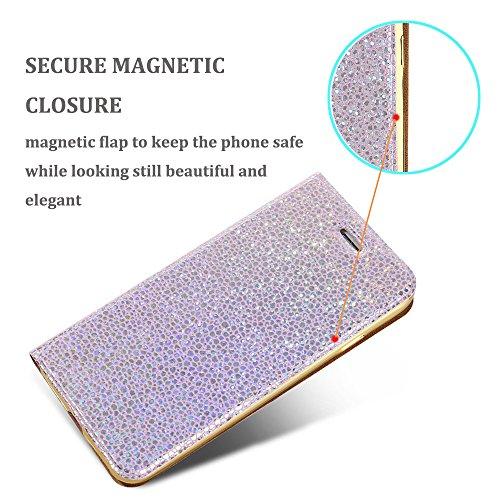 iPhone 7 4,7 pollici Custodia, LCHULLE premio Magnetico Perla Bling luccichio Ultra Sottile pelle sintetica Capovolgere Caso Placcatura portafoglio Indietro protettivo Copertura del paraurti Con il po Oro rosa