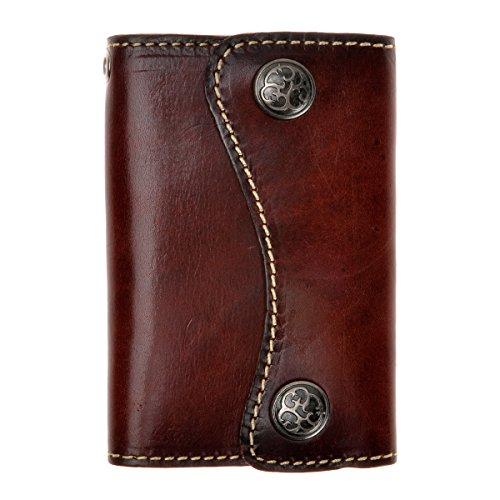 ZLYC Nuovo due pulsanti chiave carte in vera pelle portachiavi Dark Brown