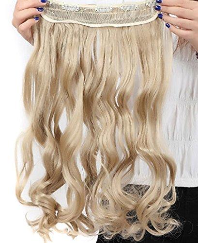 S-noilite® Haarverlängerungen 3/4 Voller Kopf-Haar-Verlängerungen Klipp gerade lockig 5 Clips, Lang Graublond
