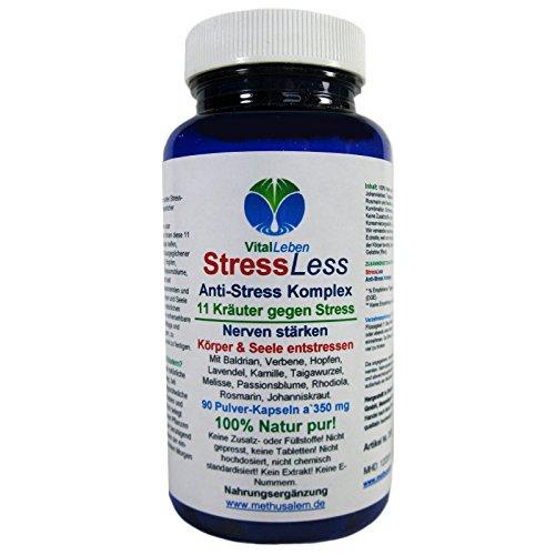 StressLess, Anti-Stress-Komplex, 11 Kräuter gegen Stress, 90 Pulver-Kapseln a 350mg, #25810
