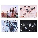 Yovvin 4 Stück BTS Wandtattoo, Kpop Bangtan Jungen 5 Jahrestag Jungkook Jimin V Suga Jin J-Hope Rap Monster Wanddekoration Wandaufkleber, Sammlung und Beste Geschenk für The ARMY (C)