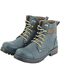 Affican Men's Blue Color Leather Boots