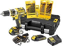 DeWalt XR Akku-Schlagbohrschrauber Set DCK795S2T - Schlagbohrmaschine mit 2-Gang-Vollmetallgetriebe & bürstenlosem Motor zum Schrauben, Bohren & Schlagbohren - 1 x Schlagbohrer Li-Ion 18 V + Zubehör