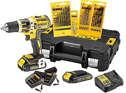 DeWALT 18V, 1.5Ah Schlagschrauber-Set mit Zubehör, bürstenlose Motor-Technologie, Sicherheitselektronik, 13mm Schnellspann-Bohrfutter, automatische Spindelarretierung, LED-Leuchte, DCK795S2T