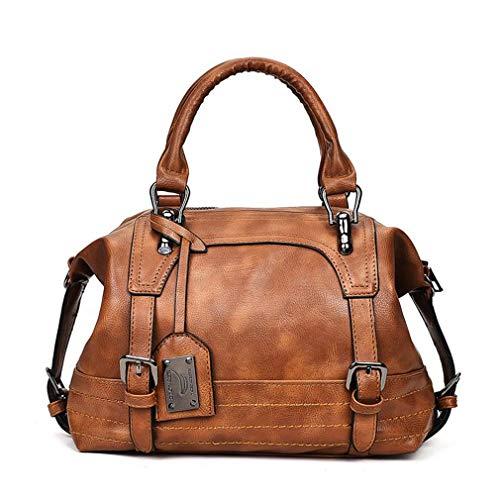 qingqinghebiao Damen Tasche Vintage Schultertasche Damen Handtaschen weiches Leder Crossbody Bag Damen Boston, Damen, braun, 30cm-Max Length-50cm