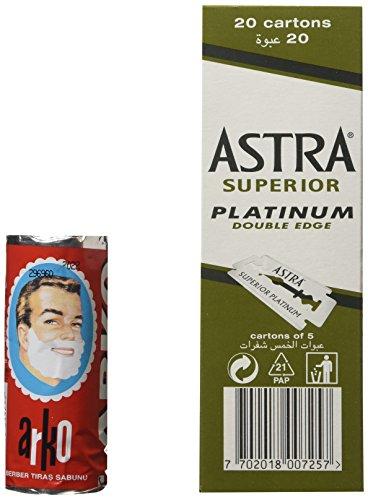 100 Astra Superior Platinum Double Edge Safety Razor Blades and Arko Shaving Cream Soap Stick Test
