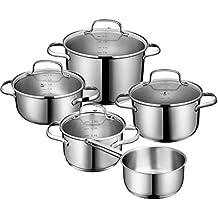 Deik juego de ollas, olla acero inoxidable, batería de cocina, utensilios de cocina, cuatro ollas de acero inoxidable con tapas de vidrio templado y un olla de acero inoxidable con mango