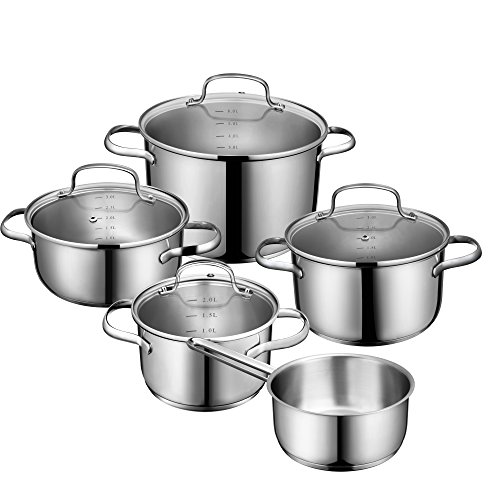 Deik Cookware Set, Stainless Steel Pot Set, Cooking Pots with Glass Lids, Suitable for Induction Hobs and Dishwasher-Safe, 5-Piece