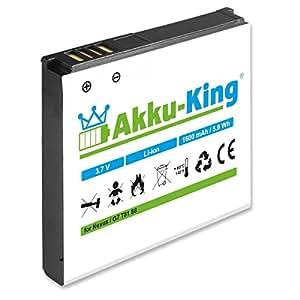 Akku-King Akku ersetzt HTC BA S410, BB99100 - Li-Ion 1600mAh - für A8181, Bravo, Desire, Dragon, Zoom 2, Google Nexus One, G5, N1