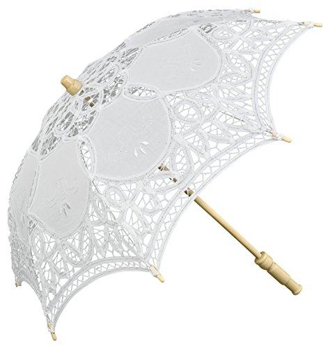 Preisvergleich Produktbild VON LILIENFELD Spitzenschirm Dekoschirm Kindergröße Mode Sonnenschirm Julie klein Spitze Stock aus Holz weiß