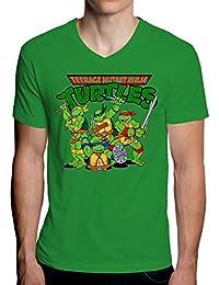 The Turtles Teenage Mutant Ninja Funny Logo Graphic Design Men's V-Neck T-Shirt