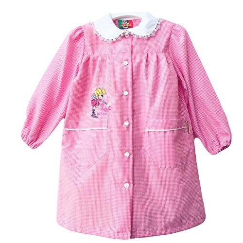 Grembiule scuola made in italy - asilo bambina colore quadretto rosa -ricamo magic game - abbottonatura centrale con bottoni, colletto bianco con ricamo.