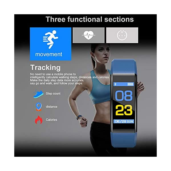 Fitness Tracker, reloj de pulsera de actividad con monitor de presión arterial IP67 resistente al agua con podómetro, contador de calorías y contador de pasos, regalo de cumpleaños para niños, mujeres, hombres 6
